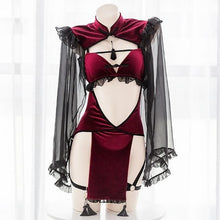 Load image into Gallery viewer, Dark Retro Witch Sexy Hollow Silk Sleeve Cheongsam Lingerie Set SP065