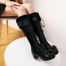 Load image into Gallery viewer, Lolita Side Zipper Bowtie Chunky Heel Leather Fur High Boots SP15350