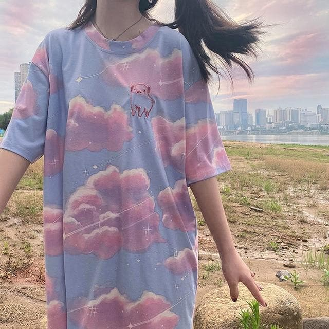 Pink Blue Cloud Print Short Sleeve T-shirt SP15280