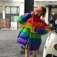Load image into Gallery viewer, Harajuku Rainbow Striped Parka Coat SS0925