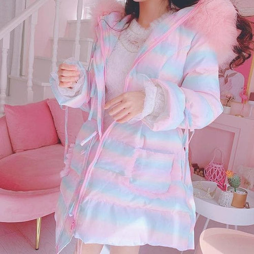 Sweet Cute Lolita Rainbow Hooded Coat SS0776