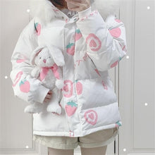 Load image into Gallery viewer, Pink Cartoon Thick Warm Strawberry Print Hooded Coat SS0669