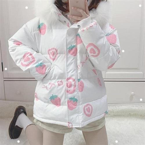 Pink Cartoon Thick Warm Strawberry Print Hooded Coat SP15378