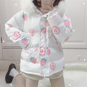 Pink Cartoon Thick Warm Strawberry Print Hooded Coat SS0669