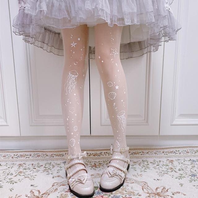 Sweet Lolita Moon Jellyfish Printed Thin Tights SP15441