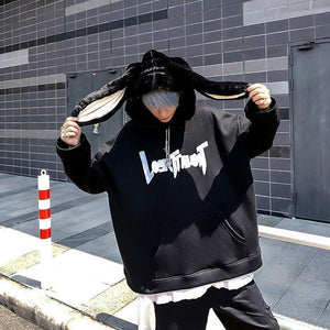 Gothic Harajuku Style Couple Hoodie Cute Rabbit Ear Pullover SP15579
