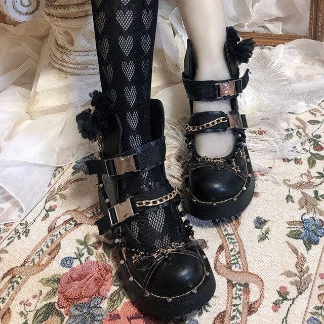 DIY Cosplay Chunky Heel Belt Buckle Metal Chains Gothic Punk Shoes SS0663