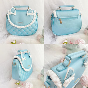 Lovely Cat Ear Bow Ruffles Plaid Single Shoulder bag SP15675