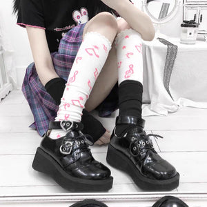 Harajuku JK Uniform Punk Lace-up Buckle Strap Platform Wedge Shoes SP15394