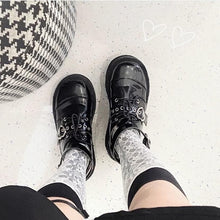 Load image into Gallery viewer, Harajuku JK Uniform Punk Lace-up Buckle Strap Platform Wedge Shoes SP15394