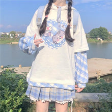 Load image into Gallery viewer, Kawaii Splicing Full Sleeve Cartoon Printed Hooded Pullover SP15408