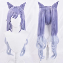 Load image into Gallery viewer, Genshin Impact KEQING Gradient Purple Cosplay Long Curly Ponytails Ears Wig SP15298