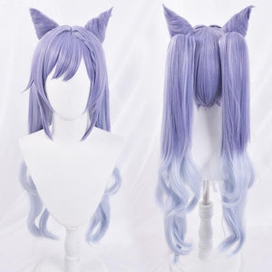 Genshin Impact KEQING Gradient Purple Cosplay Long Curly Ponytails Ears Wig SP15298