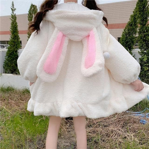 Lolita Teddy Rabbit Ears Hooded Ruffle Faux Wool Zipper Coat SP15335