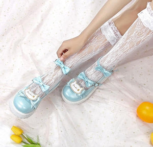 Sweet Lolita Low Heels Bowknot Square  Buckle Straps  Cosplay Shoes SS0739