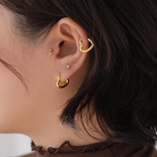 Simple Cute Sweet Heart Buckle Hoop Circle Piercing Earrings SP15678