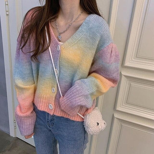 Sweet V-neck Rainbow Cardigans Sweater SS0749