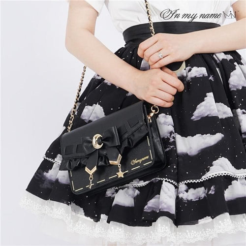 [Pre-Sale] Retro Cosplay Lolita Star Moon Ruffles Bow Single Shoulder Bag SS0753