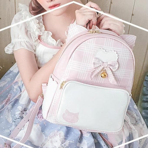Harajuku Cute Bow Heart Plaid Cat Ear Backpack SP15322