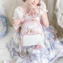 Load image into Gallery viewer, Harajuku Cute Bow Heart Plaid Cat Ear Backpack SP15322