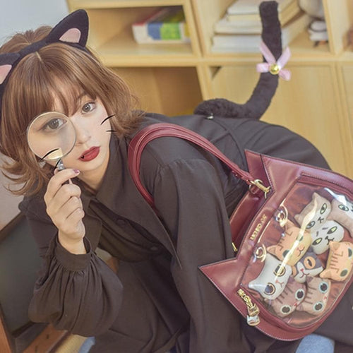 Harajuku Kawaii Cat Ear Lolita Transparent Handbag SS0756
