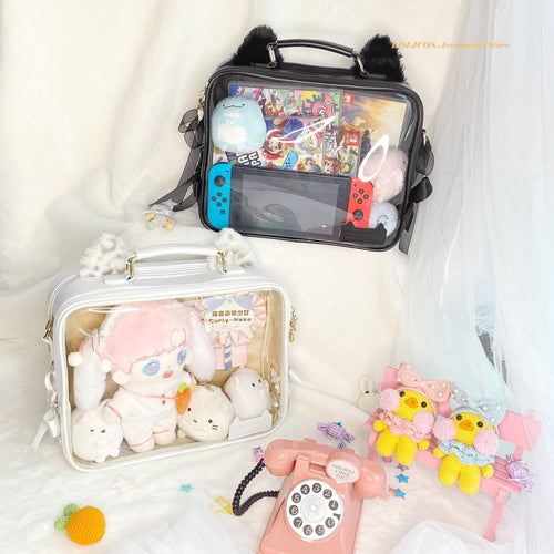 Cute Hamster Cat Ear Transparent JK Uniform Dolls Backpack SS0759
