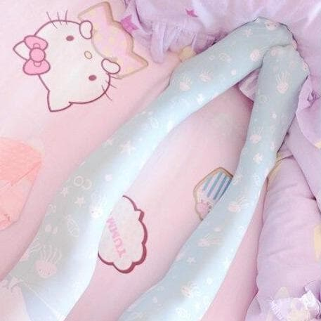 Lolita Cosplay Ocean AcalephCute Harajuku Over-knee Stockings SS0763