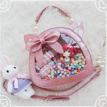 Load image into Gallery viewer, Kawaii Lolita Cat Head Transparent Bow JK Uniform Dolls Handbag SS0774