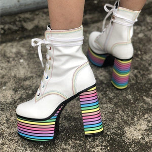 Sweet Mixed Colors Cross Lacing Platform High Heel Boots SS0797