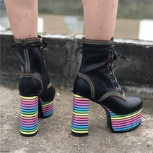Load image into Gallery viewer, Sweet Mixed Colors Cross Lacing Platform High Heel Boots SS0797