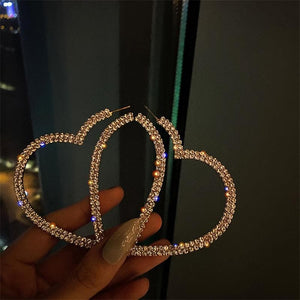 Fashion Big Heart Crystal Hoop Earrings SP15668