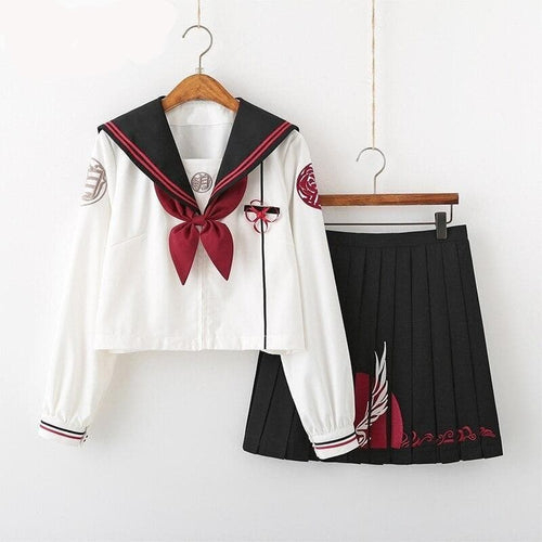 Embroidery Girls Japanese School Uniforms High School Sailor Suit EG0595