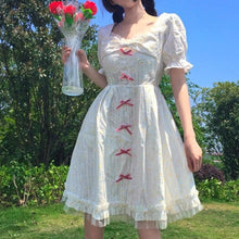 Load image into Gallery viewer, Elegant Sweet Preppy Style Square Collar Butterfly Sleeve White Dress SS0807
