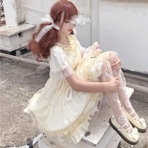 Cute Lolita Ruffled Collar Bow Tulle Layered Princess Dress SP15421