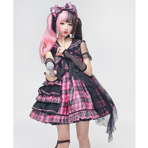 Sweet Plaided Bow Tie Halter Neck Lolita Dress Suit SE0650