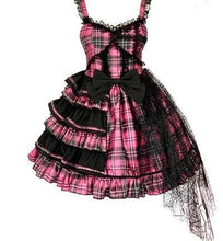 Load image into Gallery viewer, Sweet Plaided Bow Tie Halter Neck Lolita Dress Suit SE0650