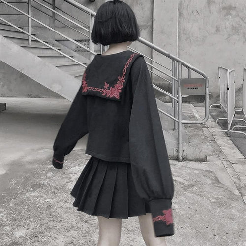 Gothic Rose Embroidery JK Uniform Set SE0620