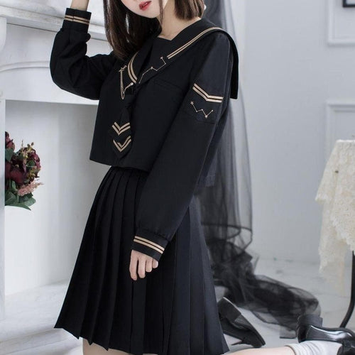 JK Uniforms For Girls Cute Black Sailor Long Tops Pleated Skirt Sets SP15410