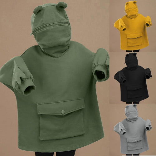 Harajuku Can Sealed Frog Casual Hooded Hoodies Pullover SP15423