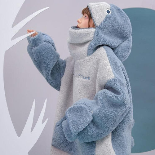 Cute Warm Can Sealed Shark Long Sleeve Hoodie Pullover SP15424