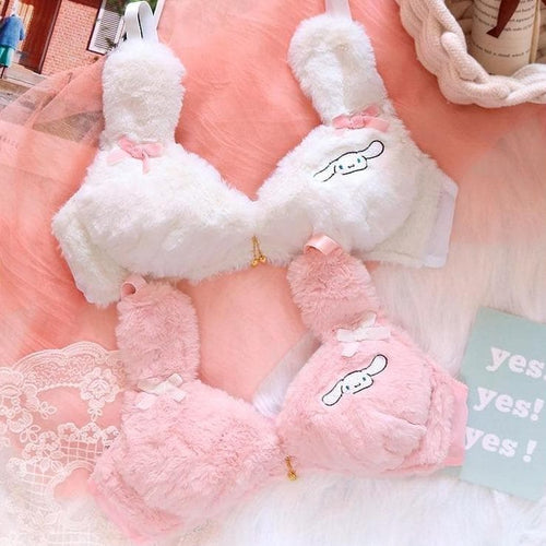 Lolita Kawaii Heart Rabbit Sweet No Steel Ring Bra and Panty Set SP1548