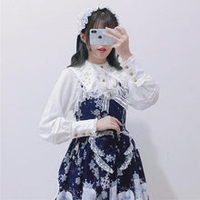Load image into Gallery viewer, Vintage Embroidery Lolita Lace Long Flare Sleeve Chiffon Shirt Ruffle Gothic Blouse SP15419