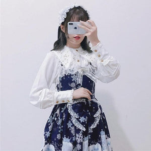 Vintage Embroidery Lolita Lace Long Flare Sleeve Chiffon Shirt Ruffle Gothic Blouse SP15419