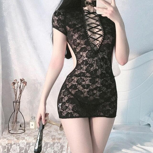 Retro Sexy Lace Backless Mini Cheongsam Dress SP216
