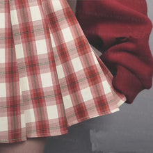 Load image into Gallery viewer, Sweet Love Sweater+Plaid Pleated Skirt Two Piece Set SP15449