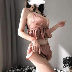 Soft Comfortable Home Pajamas Sexy Lace Crop Top Shorts Set SP187