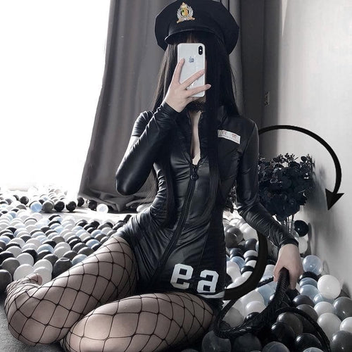 Police Women Cosplay Costumes Sexy Black PU Leather Zipper Bodysuit SE0647