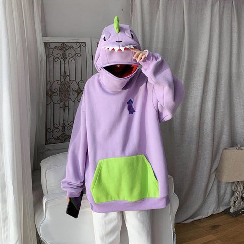 Cute Dinosaur Design Can Sealed Big Pocket Zip Hoodie Pullover SP15425