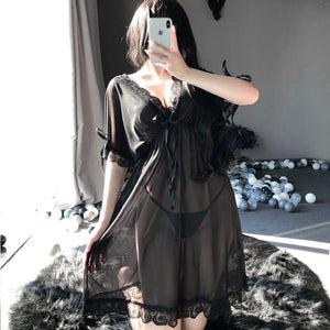 Sexy Butterfly Sling Dress Deep V Transparent Nightwear SP153