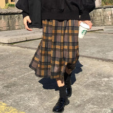 Load image into Gallery viewer, Vintage Warm Woolen Midi Long Pleated Plaid Skirts SP15463